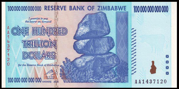 The Zimabab Urrency S Highest Denomination Banknote Z 100 Trillion Printed In 2008 Was At