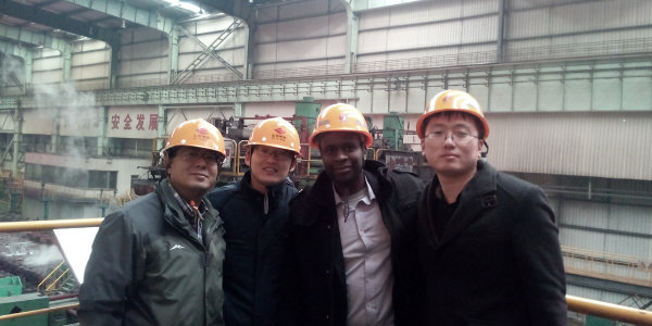 Walter Ruigu (third from the left) on a site visit to a Jinan (Shandong province) steel plant to inspect steel products for export to East Africa.