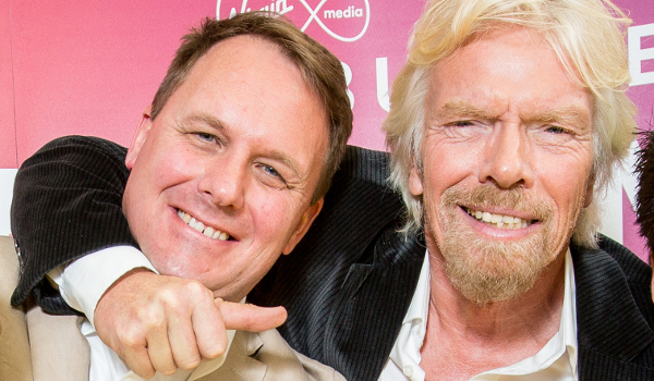 Fourex founder Jeff Paterson and business mogul Richard Branson at Virgin Media's 'Pitch to Rich 2015' competition.